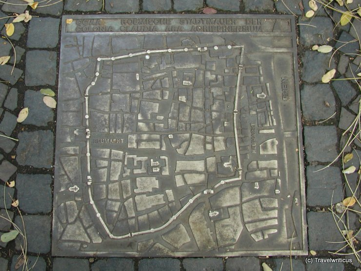 Map of the Roman city wall of Cologne, Germany