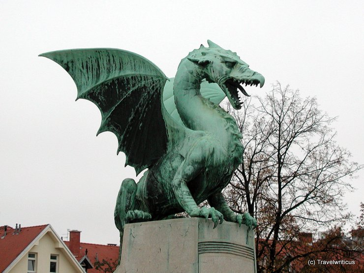 Sculpture at dragon bridge in Ljubljana, Slovenia