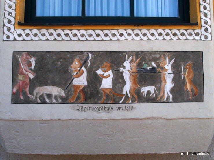 Mural named 'Jägerbegräbnis' in Saalbach, Austria
