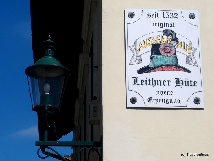 Shop sign of a hatter in Bad Aussee, Austria