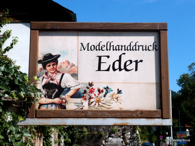 Shop sign of a textile manufacturer in Bad Aussee, Austria