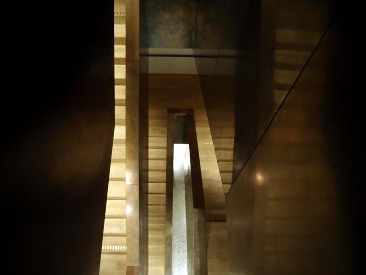On the stairs in Vorarlberg Museum in Bregenz, Austria