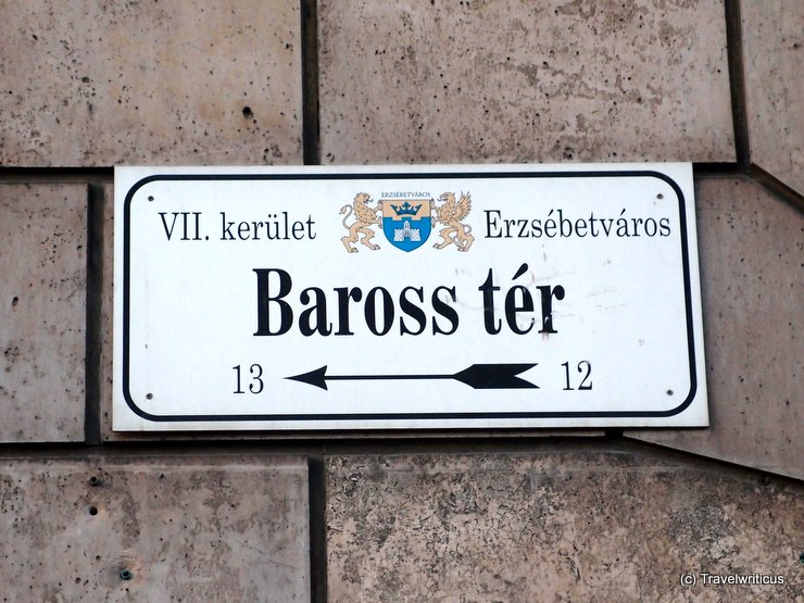 Road sign in Budapest, Hungary