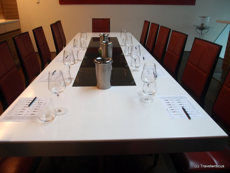Table for tasting at winery Gager in Deutschkreutz, Austria