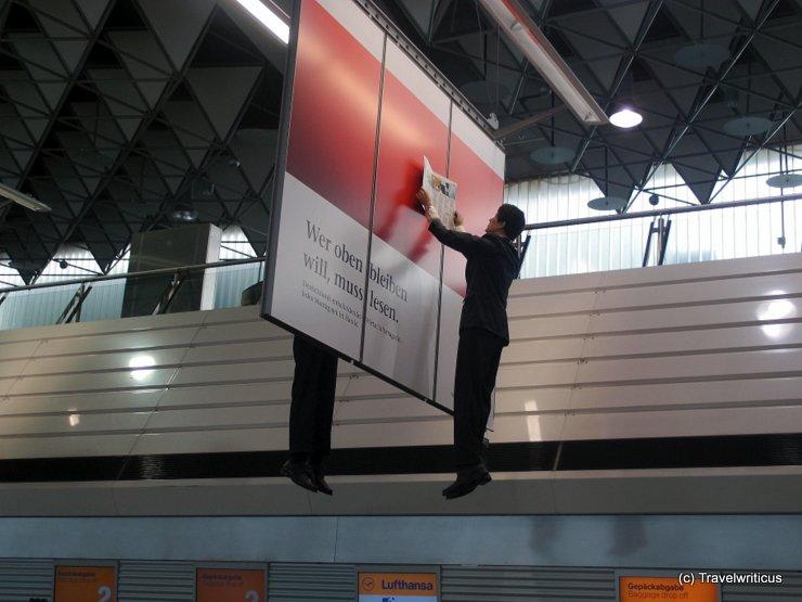 Fun advertisement at Frankfurt Main Airport, Germany