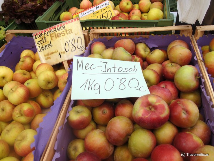 McIntosh apple at a farmer market in Graz, Austria