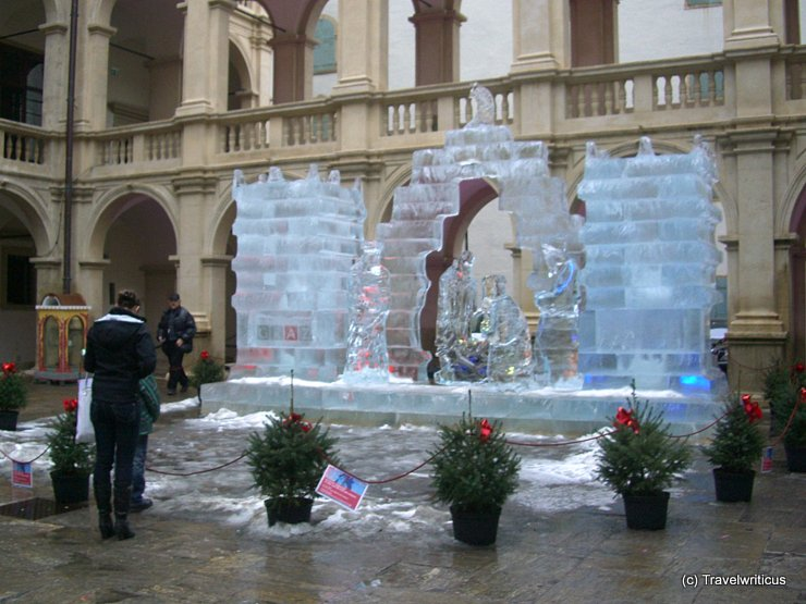 Christmas crèche made of ice in Graz, Austria