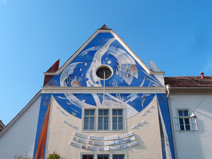 Sundial on the Styrian state archive in Graz, Austria