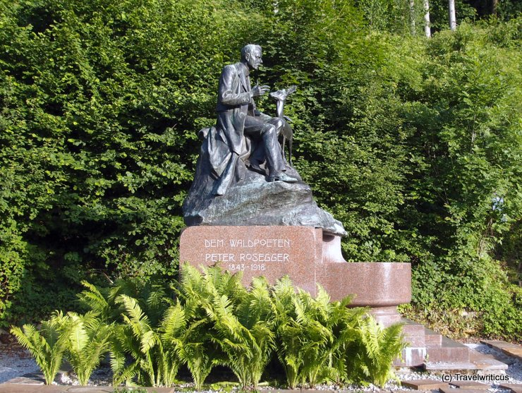 Monument of Peter Rosseger in Kapfenberg, Austria
