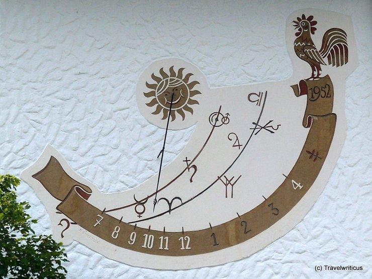 Sundial on a school in Mittelberg, Austria