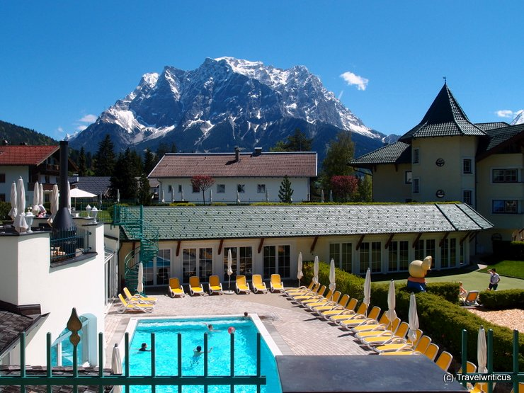 Swimming pool at Hotel Alpenrose in Lermoos, Austria