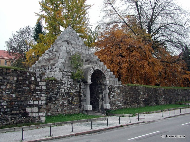 Outside the roman wall of Ljubljana