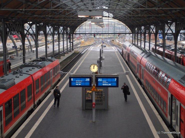 Platform hall of Lübeck Central Station, Germany