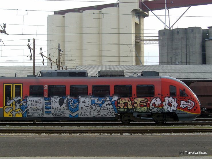 Painted train at Maribor central station