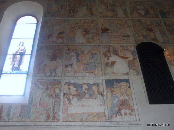 Late Gothic frescoes at a church in Mittelberg, Austria