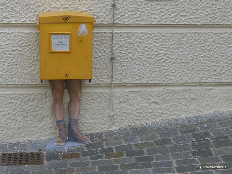 Postbox with legs in Mödling, Austria