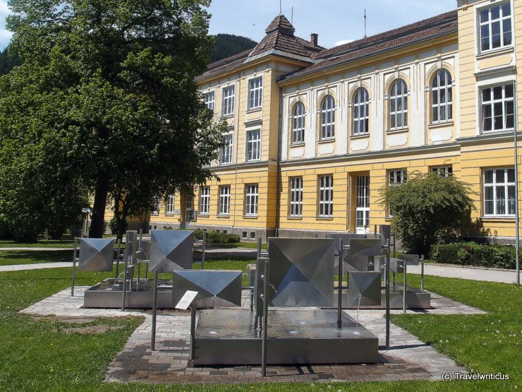 Fountain made of stainless steel in Mürzzuschlag, Austria