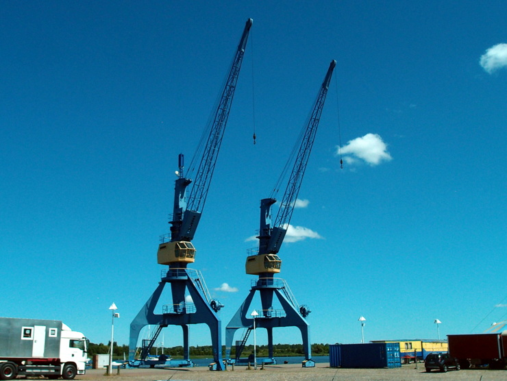 Cranes at the city harbour of Rostock, Germany