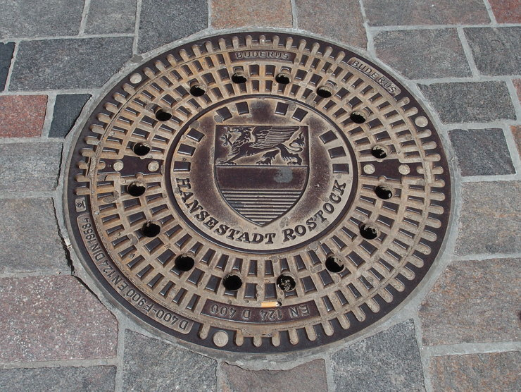 Manhole cover in Rostock, Germany