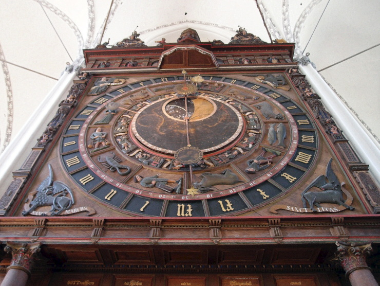 Astronomical clock of St. Mary's Church in Rostock, Germany