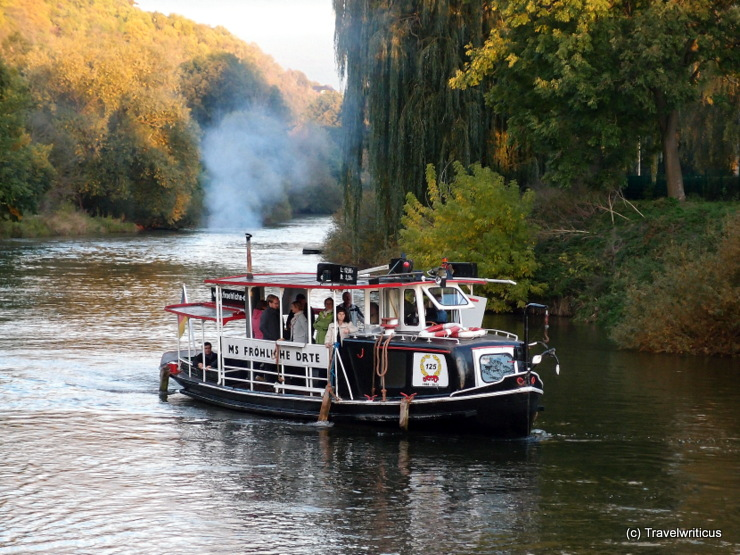 Cruise vessel 'Fröhliche Dörte' (1888) on the river Unstrut in Saxony-Anhalt, Germany