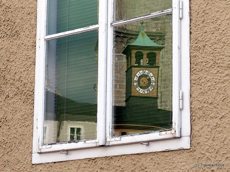 Public clock next to the Franciscan monasery in Salzburg, Austria