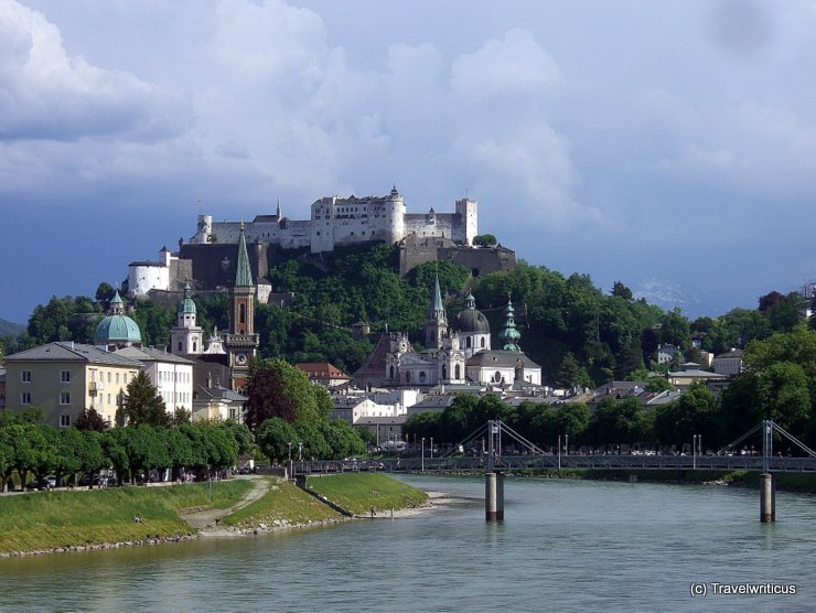View of Salzburg from railway bridge