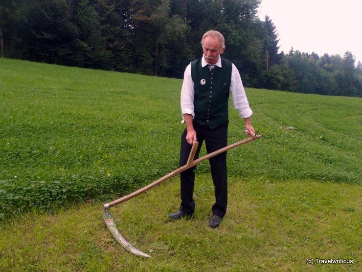 Mr. Weingartner as reaper in Schlierbach, Austria