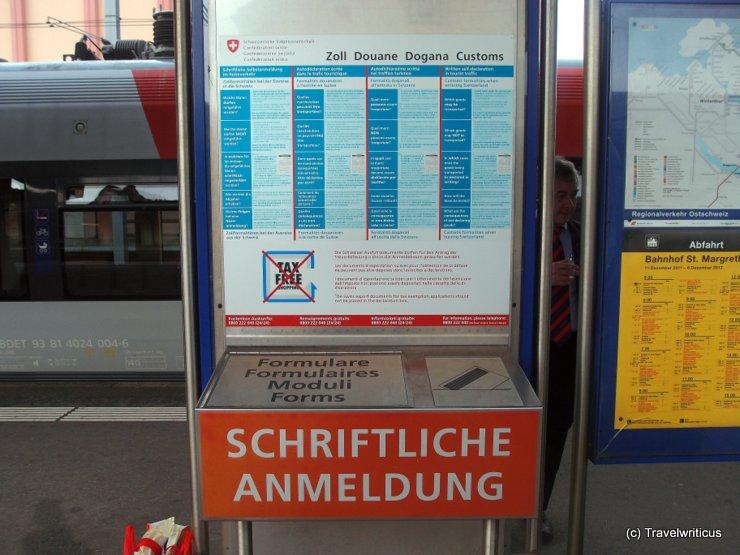 Customs declaration at Swiss railway station