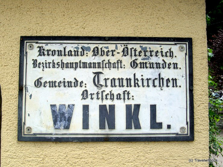 Vintage place name sign in Traunkirchen