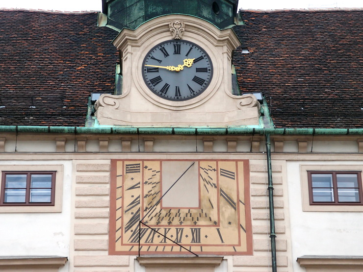 Sundial at the Amalienburg in Vienna, Austria