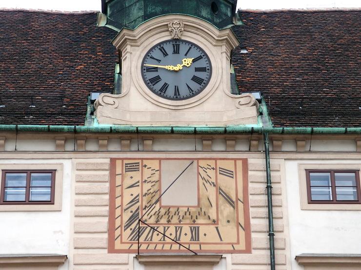 Sundial on the Amalienburg in Vienna, Austria