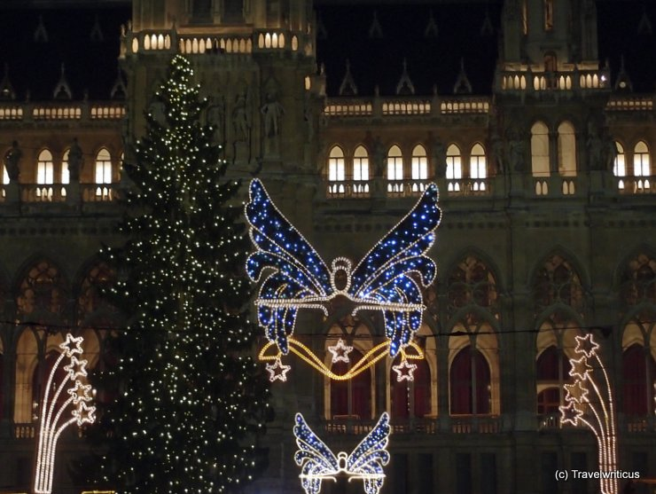Christmas market at the city hall of Vienna, Austria