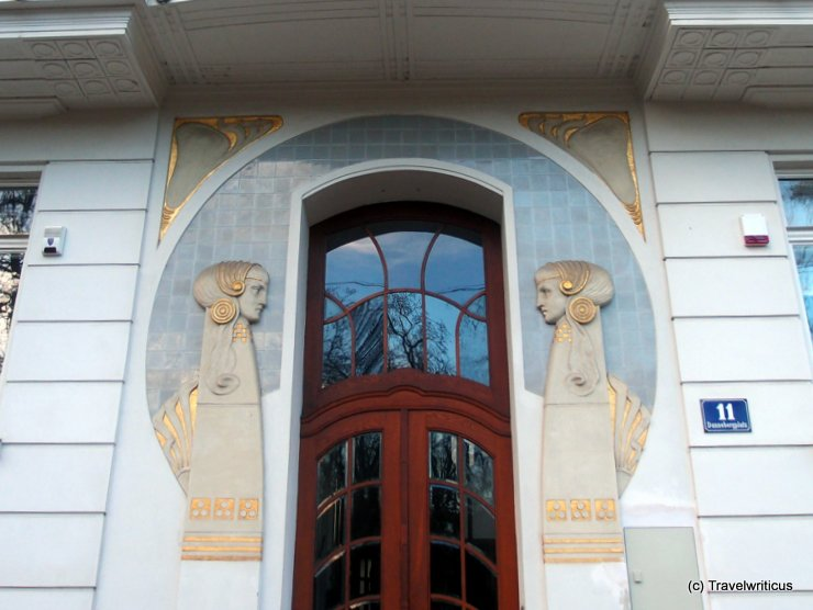 View of an art nouveau door at Dannebergplatz