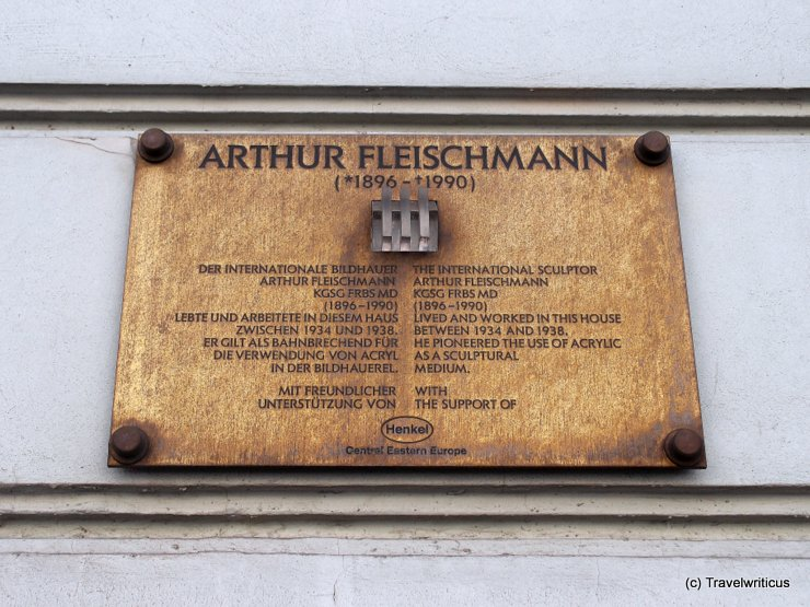 Memorial plaque for Arthur Fleischmann in Vienna, Austria