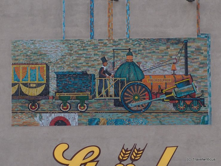 Mural showing the locomotive Philadelphia