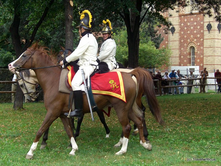 Re-enactment group of Austrian dragoons