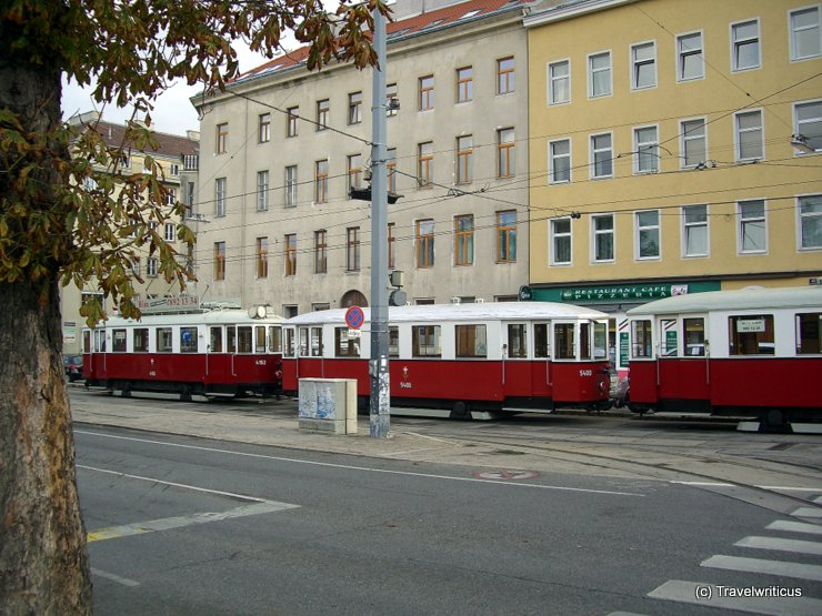 Three trams in a traim-train in Vienna, Austria