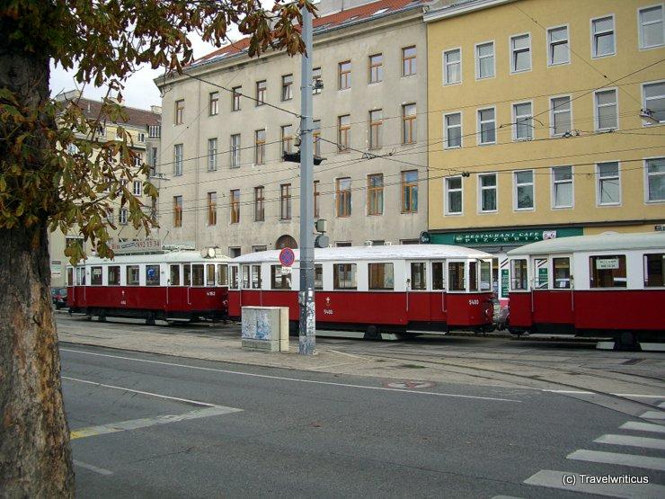 Three trams in a traim-train in Vienna, Austria