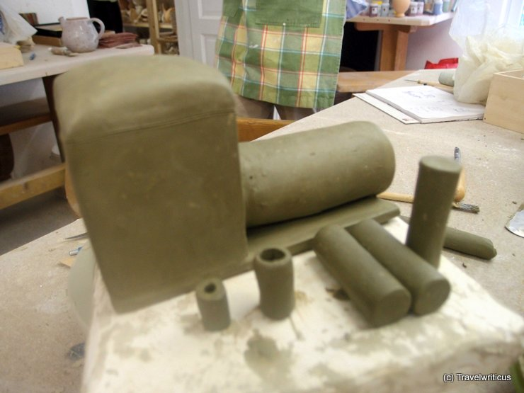 Body of the steam locomotive made of clay